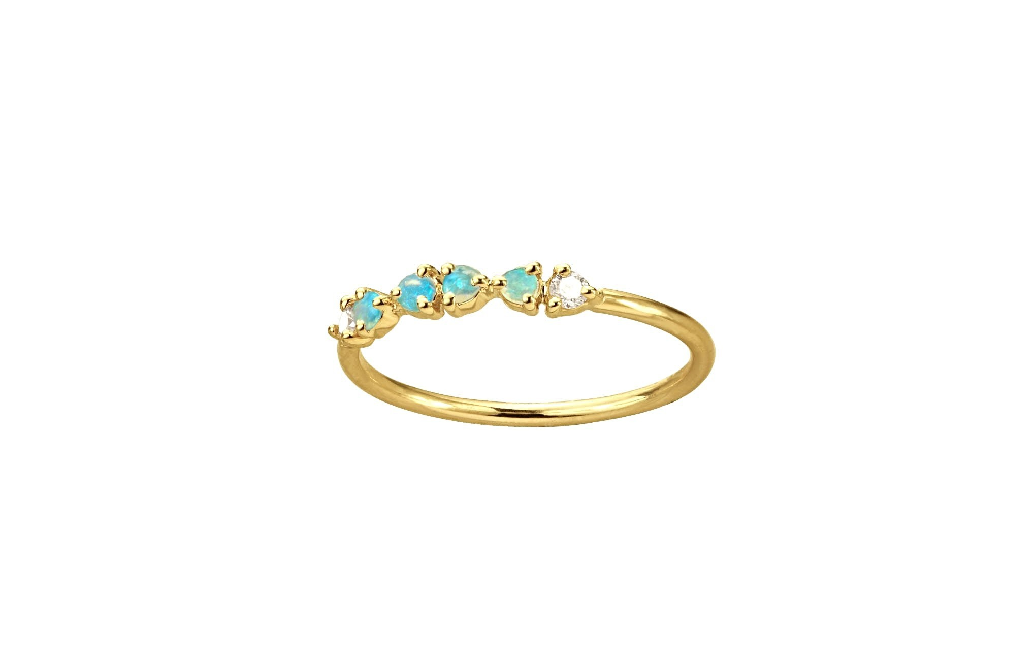 Opal & Diamond Demi Ring, 14kt, size 7.5