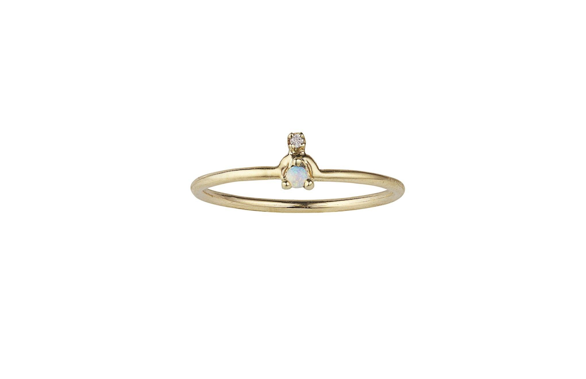 Mini Nestled Ring, 14KT, size 6.5 Opal
