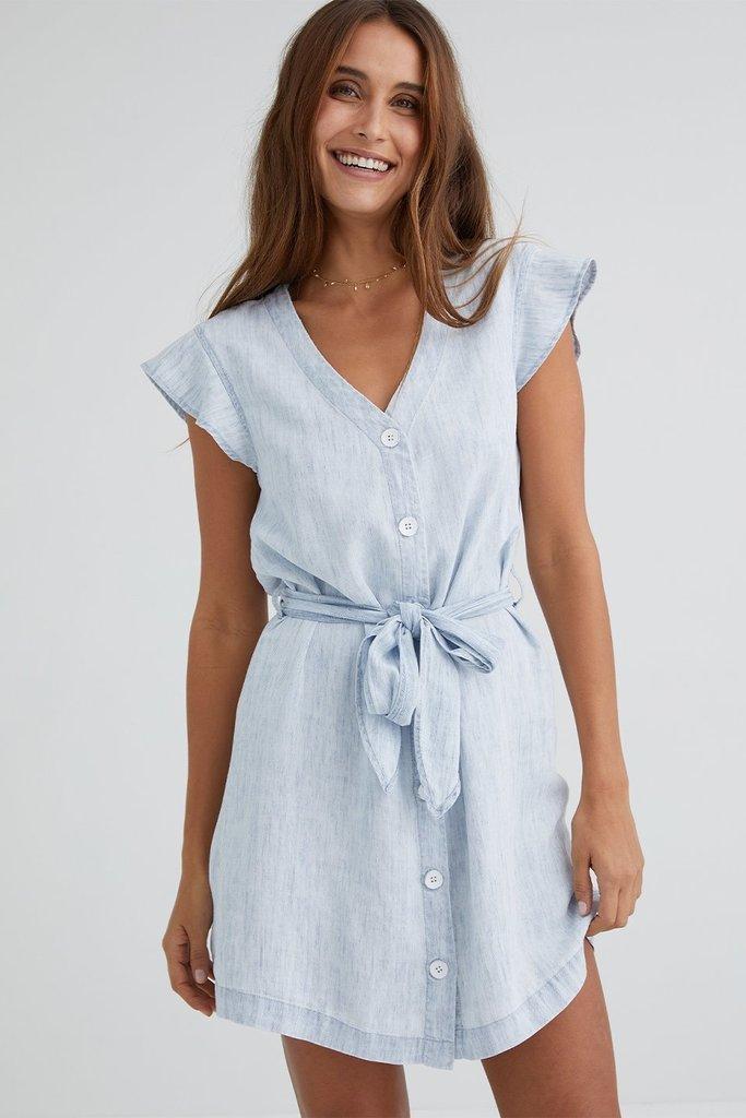 Bella Dahl Button Front Ruffle Sleeve Dress - Size L