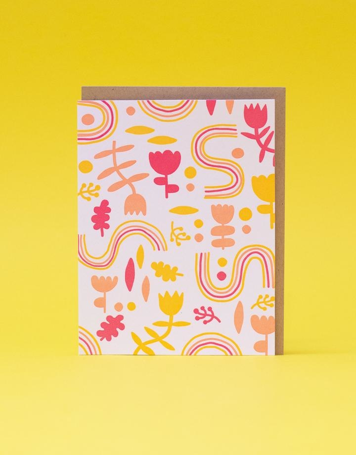 Egg Press Abstract Floral Card