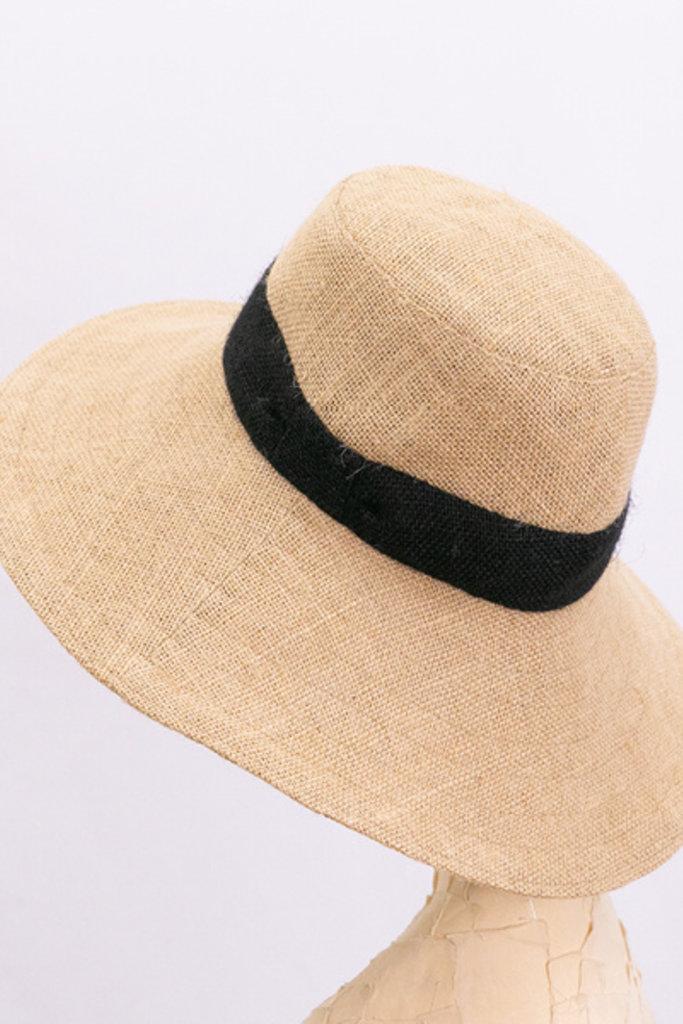 Tsuyumi Jute Wide brim hat with ribbon detail