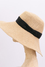 Tsuyumi Jute Wide brim hat with ribbon detail in Natural x Black