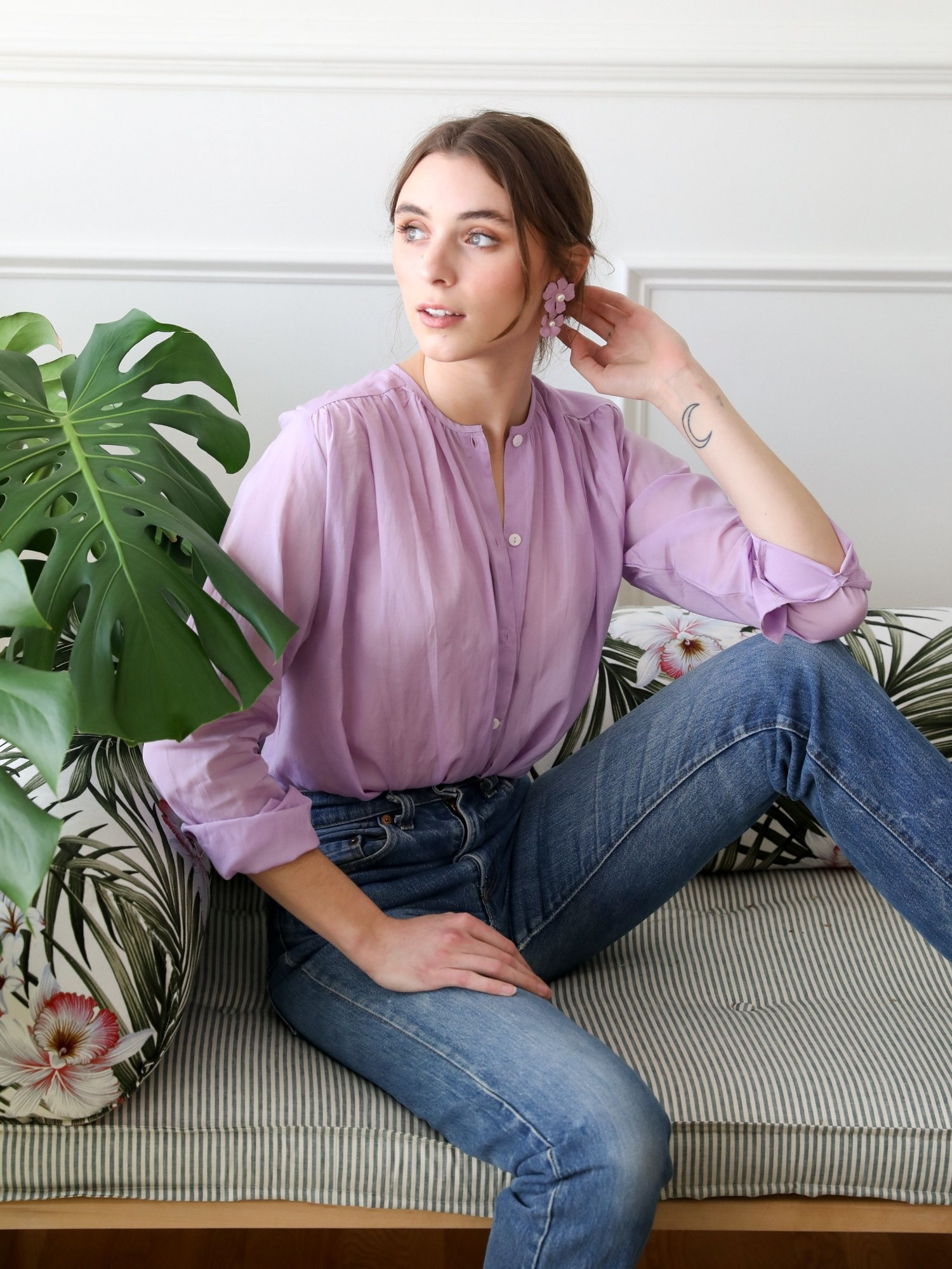 Mille Florian Top Lilac Voile