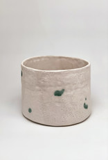 Alice Cheng Studio Large White Planters With Green Dots