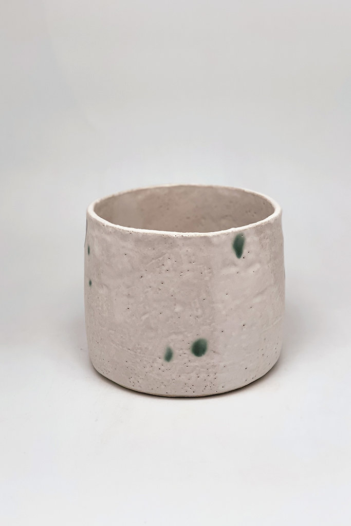 Alice Cheng Studio Medium White Planter with green dots