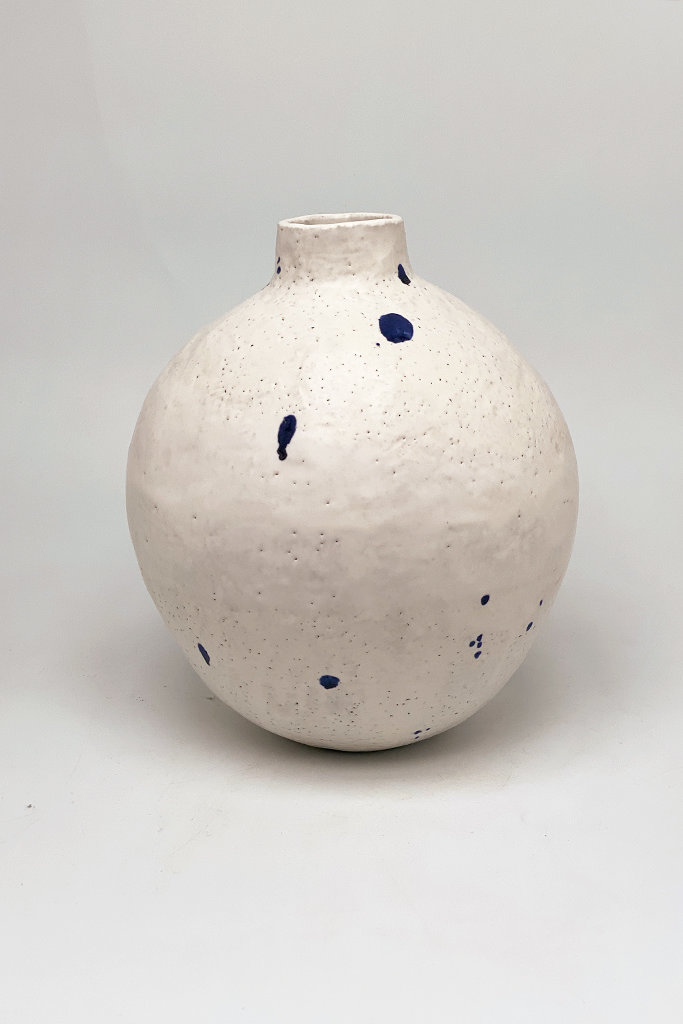 Alice Cheng Studio Indigo Dot Moon Vase