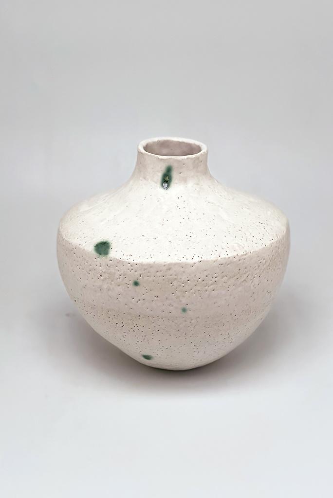 Alice Cheng Studio Shaped Green Dot Vase