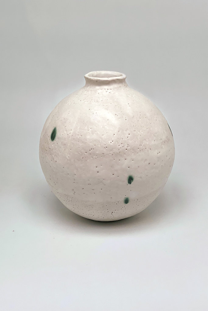 Alice Cheng Studio Green Dots  Sculpture Moon Vase