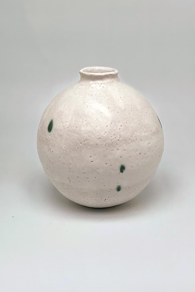 Alice Cheng Studio Green Dots Moon Vase