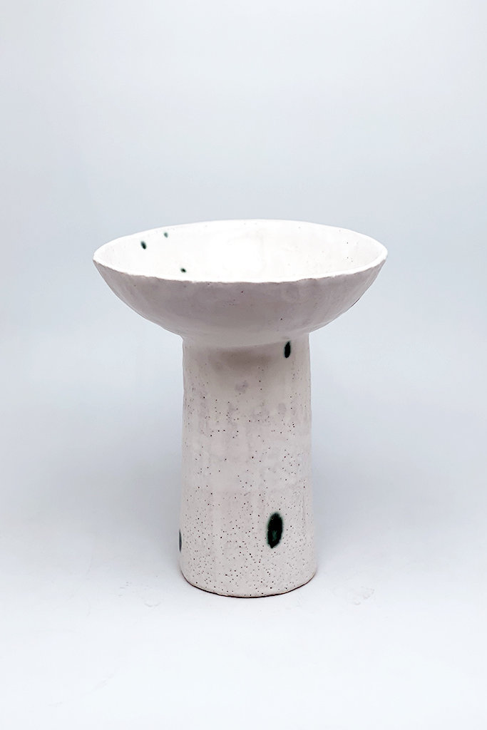 Alice Cheng Studio Pedestal Vase With Green Dots