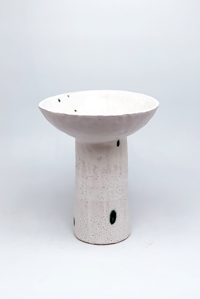 Alice Cheng Studio Footed Vase With Green Dots