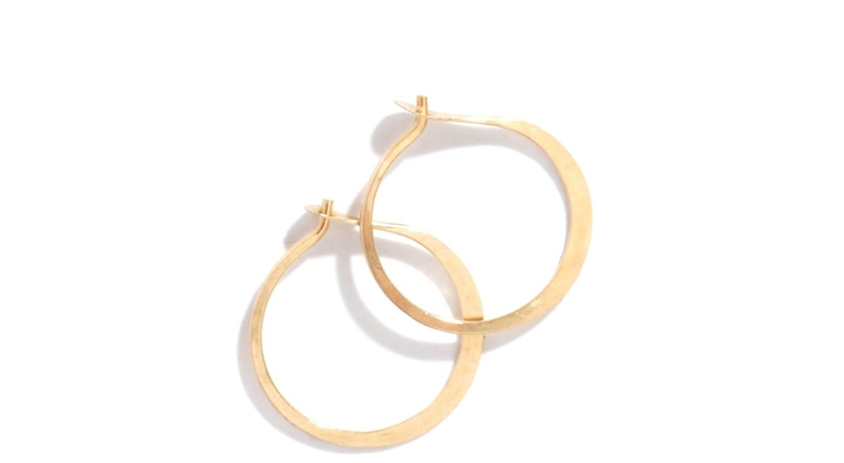 Melissa Joy Manning Small forged round hoops 14kt gold