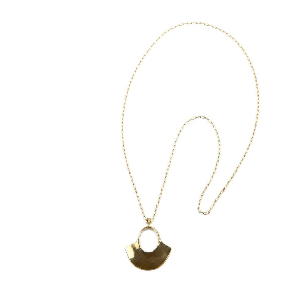 "Marisa Mason Solis Necklace 20"" Brass/GF Chain"