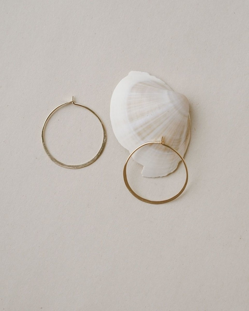 Satomi Studio Hammered Small Hoops YG Filled