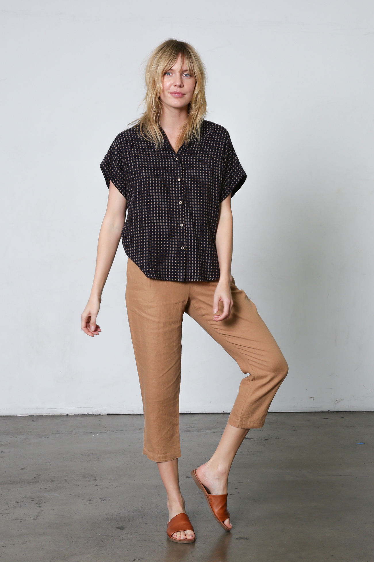 It Is Well L.A. Short Sleeve Boxy Button Down Dobby