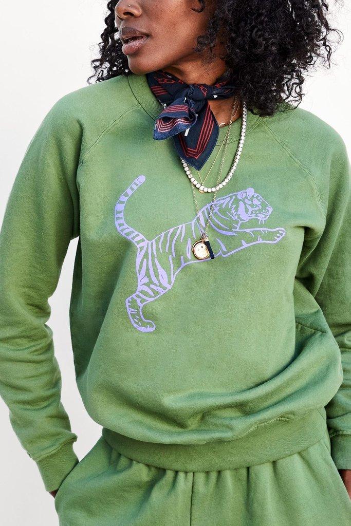 Clare V Tiger Raglan Sweatshirt - Size L
