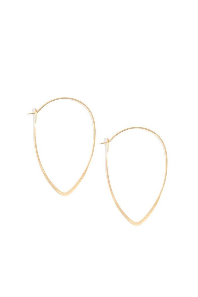 Melissa Joy Manning 14k gold small leaf hoops