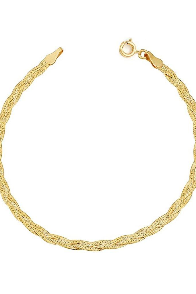 Leah Alexandra Braided Herringbone Bracelet 10KT Gold