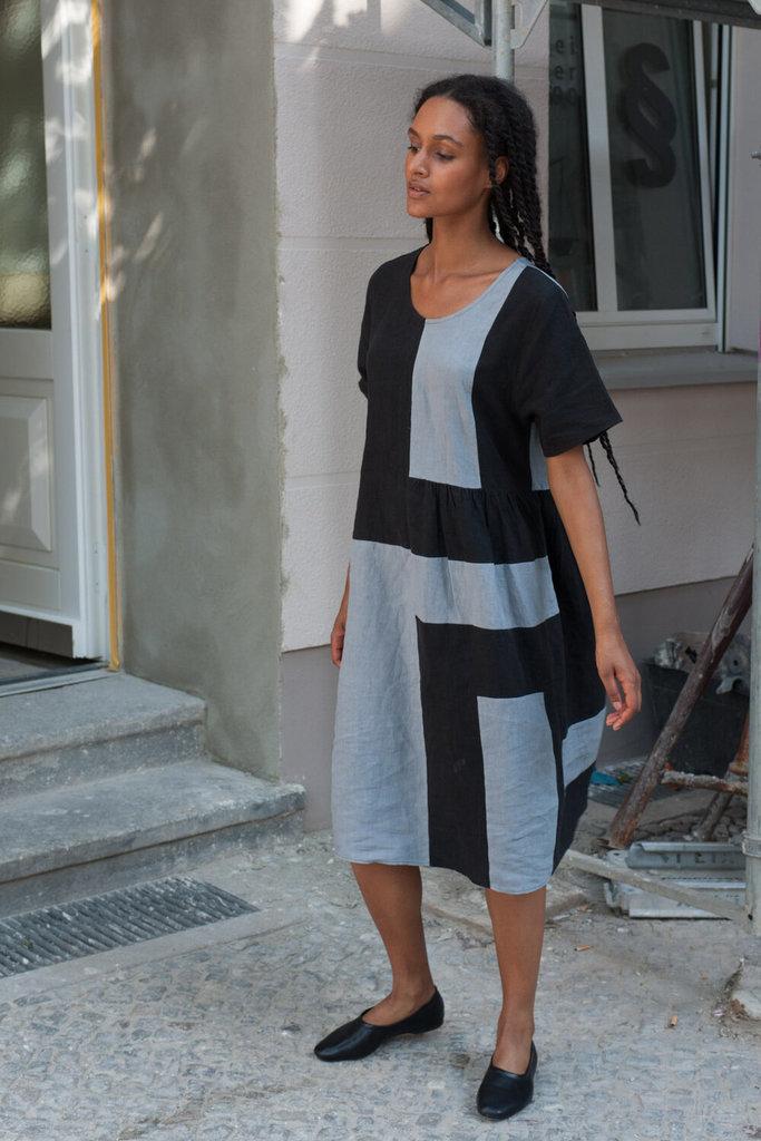 Correll Correll Black Stripes Becky Linen Dress