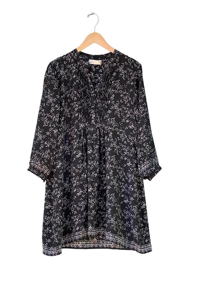 Natalie Martin Sammie Short Dress in Black and White Bamboo Print