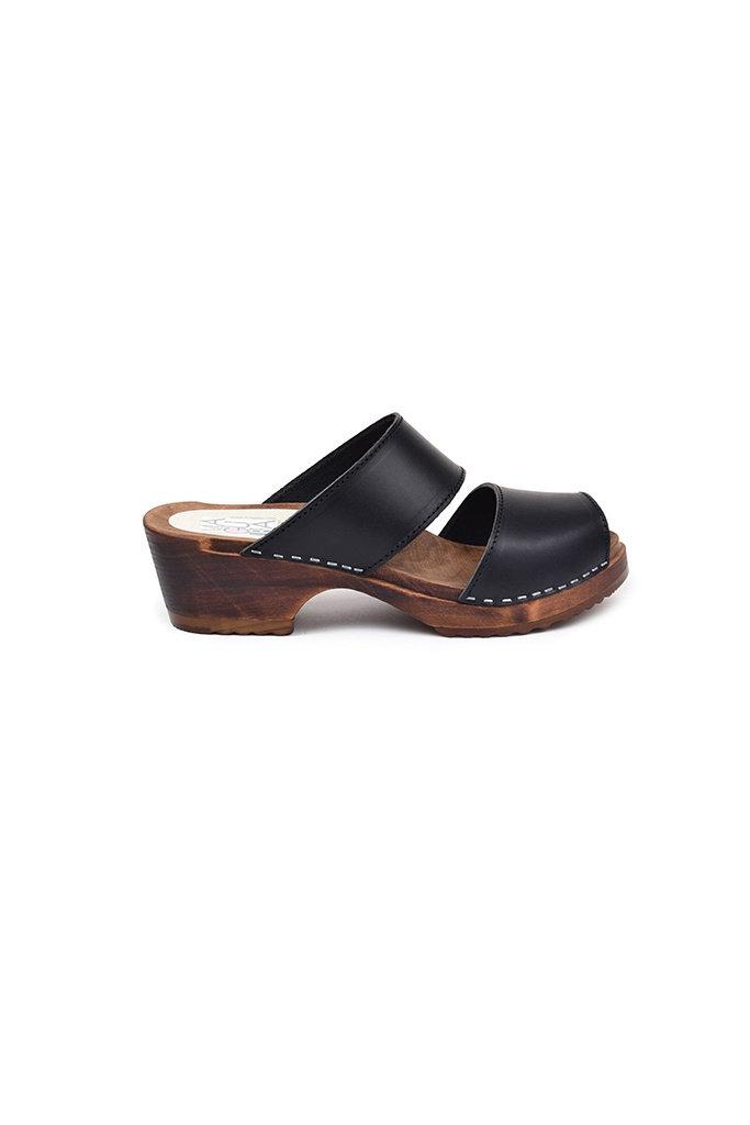 Maguba Tokyo Sandal Clog in Black Leather