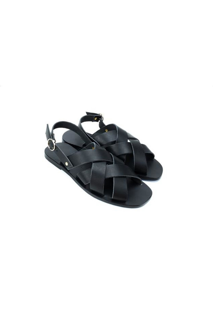 Oinousses Square Leather Sandal in Black