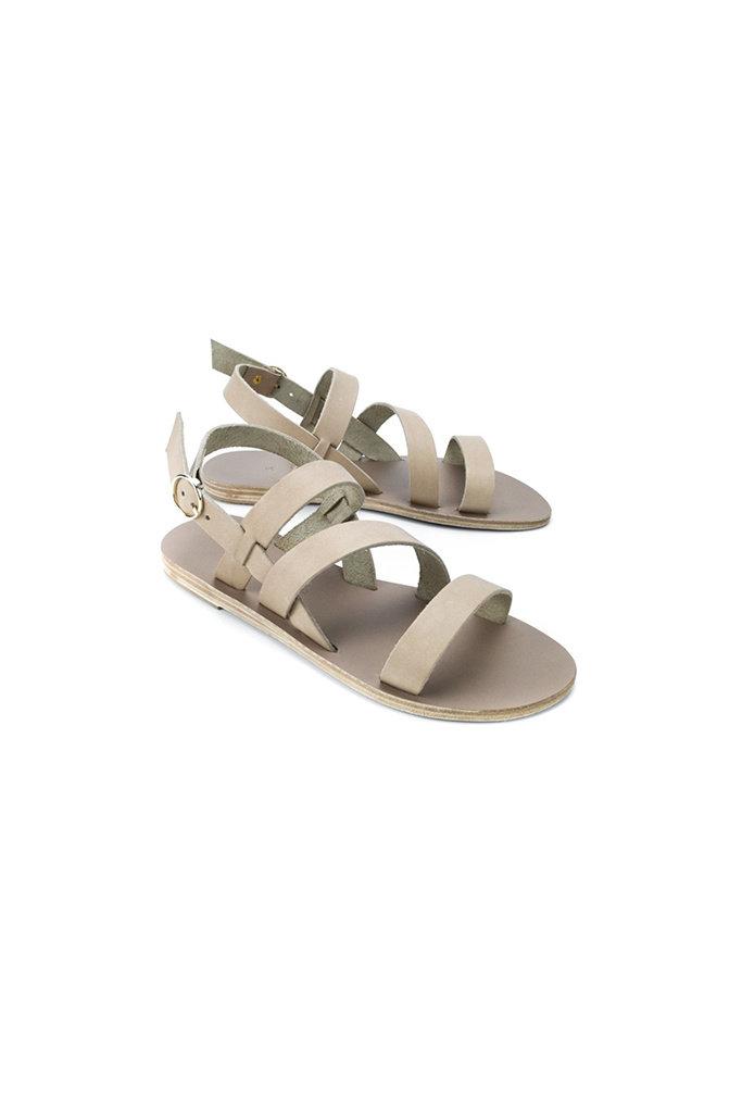Kimolos Strappy Leather Sandal in Olive Beige