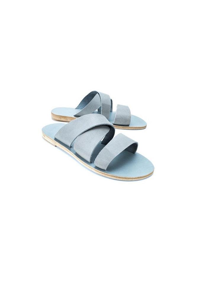 Thassos Slip-on Leather Sandal in Light Grey