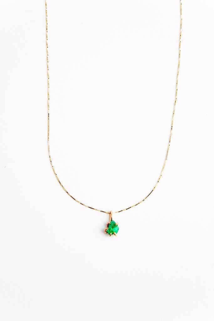 Variance Zambian Emerald Small Pendant Necklace
