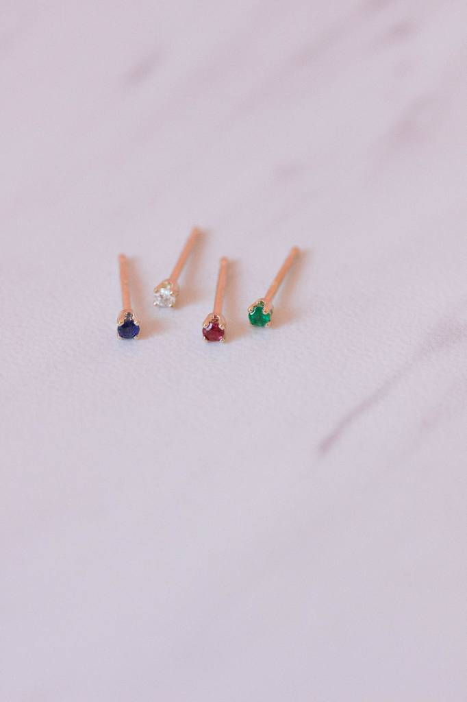 Gjenmi 14KT Single Baby Studs/ Mixed Gemstones