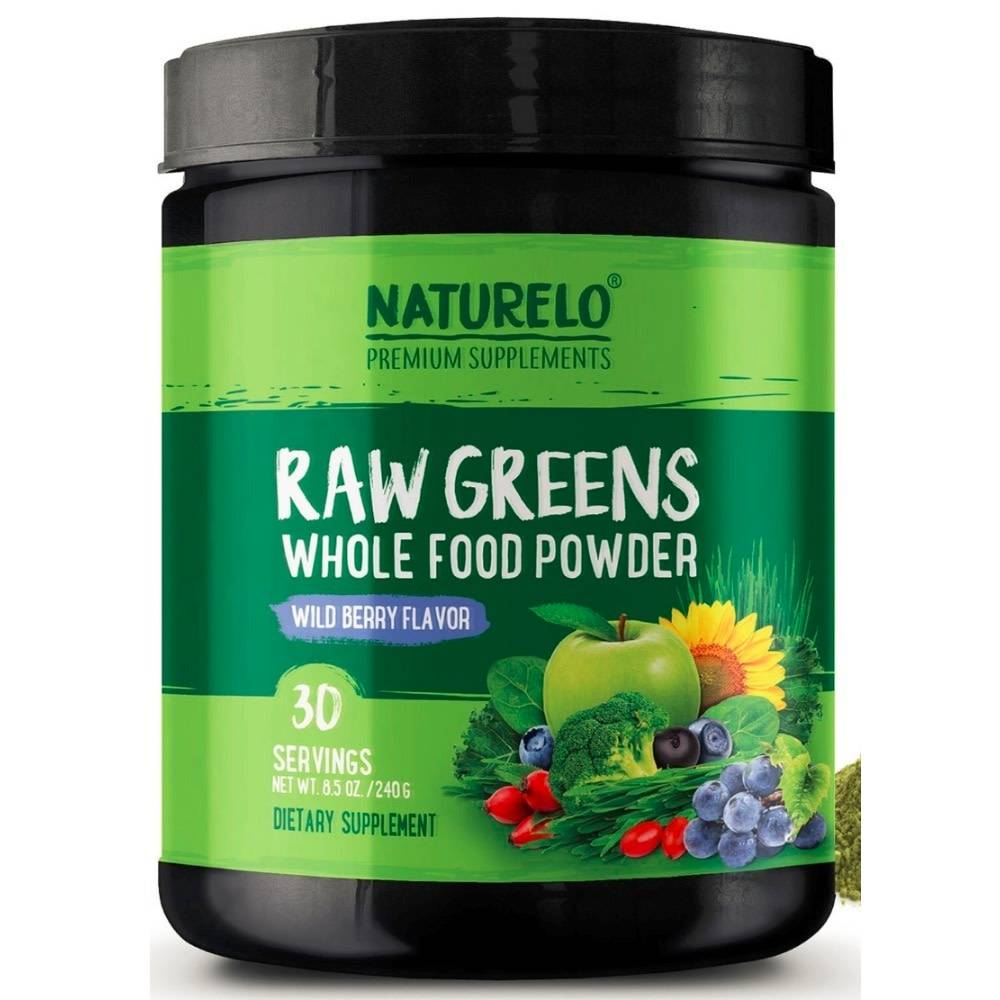 Naturelo Premium Supplements Raw Greens Whole Food Powder, Wildberry Flavor, 30 servings