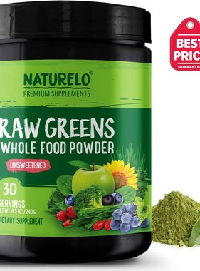 Naturelo Premium Supplements Raw Greens Whole Food Powder, Raw Greens, Unsweetned 30 servings