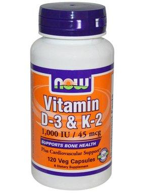 NOW Foods Now Foods, Vitamin D3 & K2 1000IU/45mcg, 120 Vcapsules
