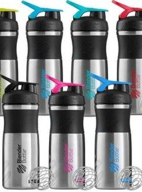 Blender Bottle Blender Bottle, SportMixer-Stainless Steel, Black Assortment, 28oz.