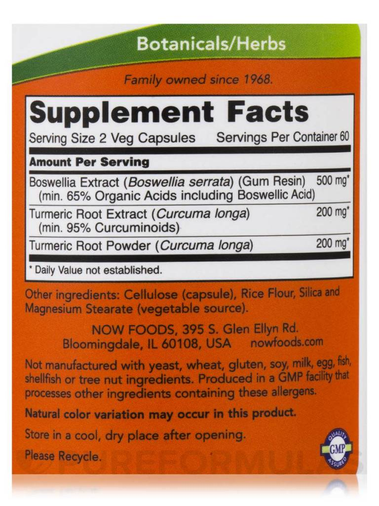 NOW Foods Now Foods, Boswellia Extract 250 mg, 60 Vcapsules
