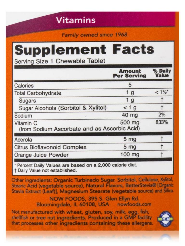 NOW Foods Now Foods, Chewable C-500, Orange Juice , 100 Tablets