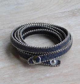Tickled Pink Long Faux Leather Wrap Bracelet