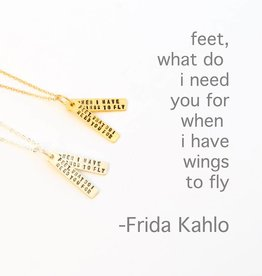 Chocolate & Steel Frida Kahlo Quote Necklace