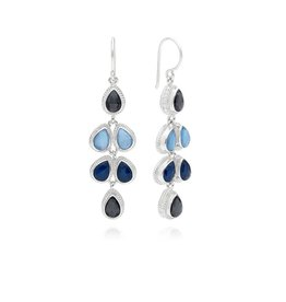Anna Beck Hematite and Sapphire Multi Drop Earrings, silver