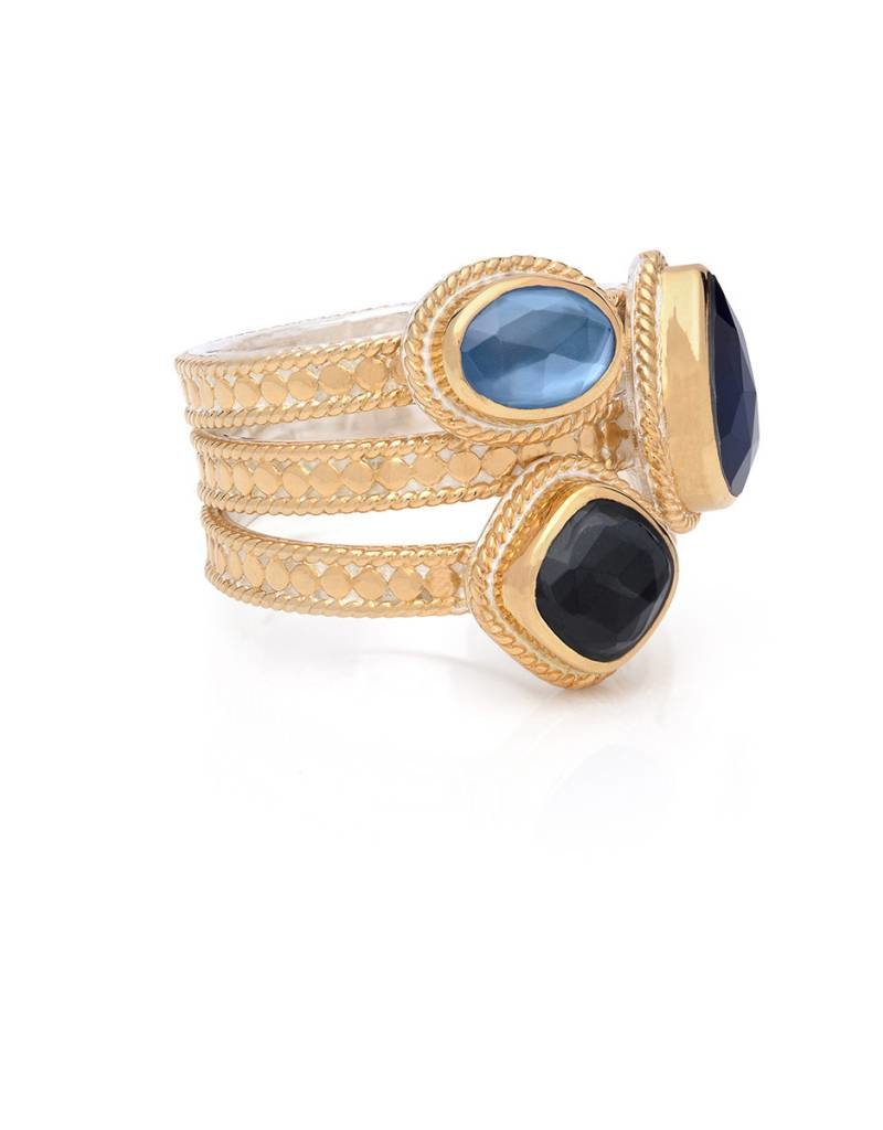 Anna Beck Hematite and Sapphire Faux Stackable Ring, gold
