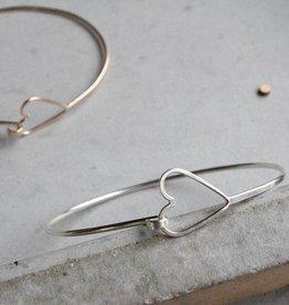 Elaine B Heart Bangle Bracelet - silver, small