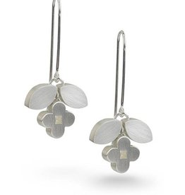 Bree Richey Circle Flower Blossom Earrings, sweet wire, silver