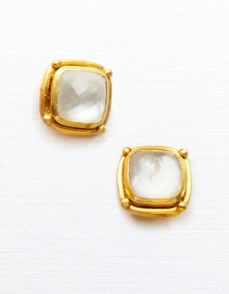 Monterey Stud Gold Iridescent Clear Crystal