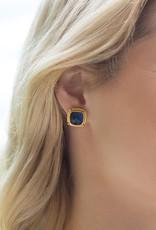 Monterey Stud Gold Iridescent Aquamarine Blue