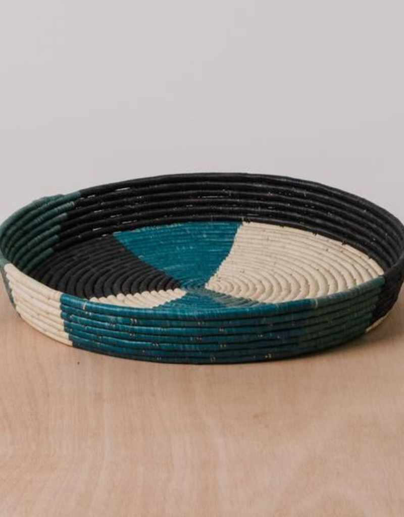 Cool Color Blocked Raffia Tray