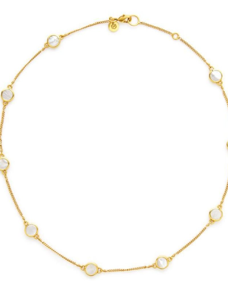 Valencia Delicate Station Necklace Gold Mother of Pearl