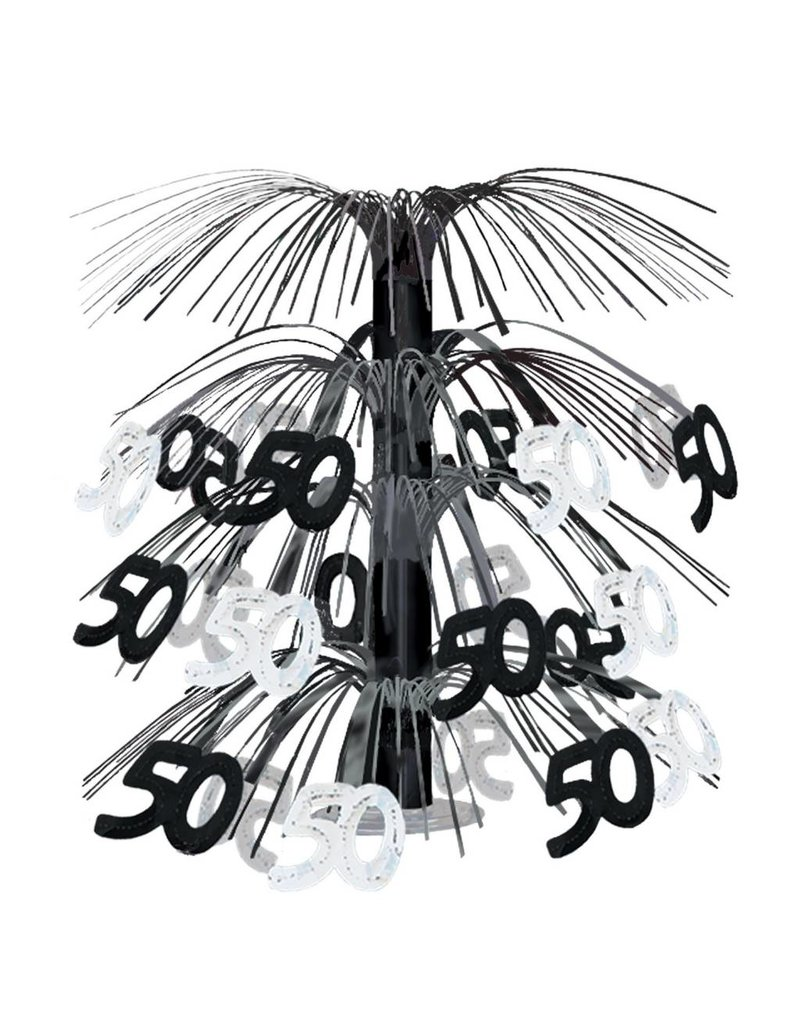 50TH Cascade Centerpiece- Black & Silver