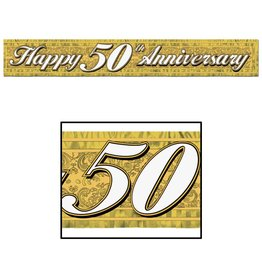 Happy 50TH Anniversary Metallic Fringed Banner