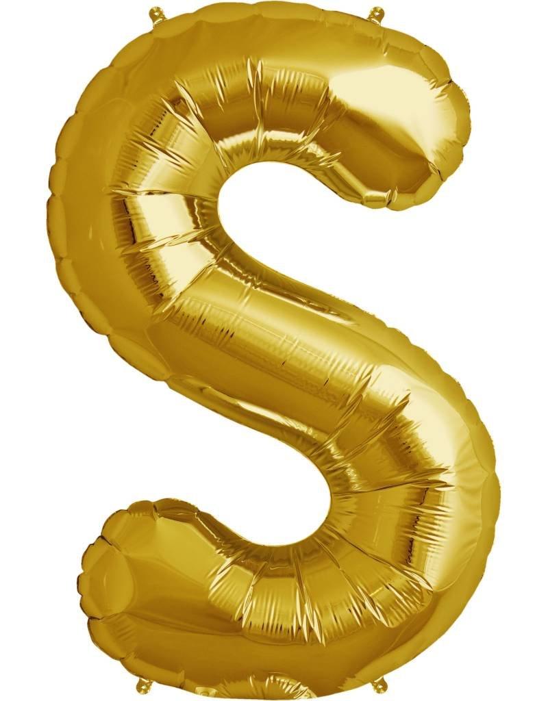 "34"" Gold Foil S Balloon"
