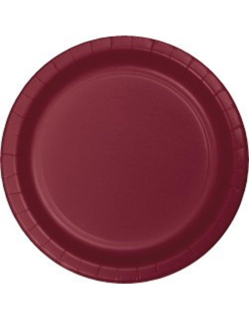 """7"""" Round Plates  Burgundy"""